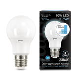 102502210 Gauss Лампа LED A60 10W E27 920lm 4100K step dimmable 1/10/50
